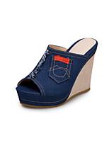 cheap -Women's Sandals Wedge Sandals 2020 Summer Wedge Heel Peep Toe Minimalism Daily Party & Evening Jeans Denim Black / Blue