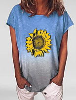 cheap -Women's Floral Tie Dye Daisy Print T-shirt Daily Blue / Purple / Yellow / Green