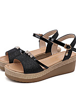 cheap -Women's Sandals Wedge Sandals Summer Wedge Heel Open Toe Daily Outdoor PU Black / Gold / Silver