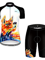 cheap -21Grams Women's Short Sleeve Cycling Jersey with Shorts Polyester Black / Orange Gradient Animal Wolf Bike Clothing Suit Breathable Quick Dry Ultraviolet Resistant Reflective Strips Sweat-wicking