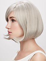 cheap -Synthetic Wig kinky Straight With Bangs Wig Short Creamy-white Synthetic Hair 12 inch Women's Simple Classic Women Silver