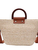 cheap -Women's Hollow-out Straw Top Handle Bag Straw Bag Solid Color Almond / Brown / Beige