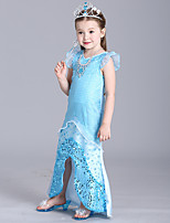 cheap -The Little Mermaid Dress Flower Girl Dress Girls' Movie Cosplay A-Line Slip Blue Dress Children's Day Masquerade Satin / Tulle Sequin