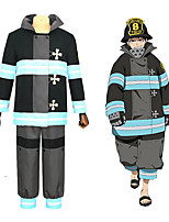 cheap -Inspired by Fire Force Anime Cosplay Costumes Japanese Cosplay Suits Coat Pants T-shirt For Men's Women's / Waist Belt
