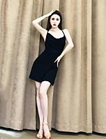 cheap -Latin Dance Dress Ruching Bandage Women's Performance Sleeveless Crystal Cotton