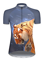 cheap -21Grams Women's Short Sleeve Cycling Jersey Polyester Black / Yellow Galaxy Animal Tiger Bike Jersey Top Mountain Bike MTB Road Bike Cycling Breathable Quick Dry Ultraviolet Resistant Sports Clothing