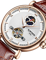cheap -Men's Mechanical Watch Automatic self-winding Stylish Genuine Leather Black / Brown 30 m Water Resistant / Waterproof Moon Phase Tourbillon Analog Fashion - Black Brown One Year Battery Life