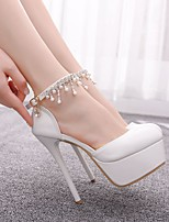 cheap -Women's Heels Spring & Summer / Fall & Winter Stiletto Heel Round Toe Sweet Minimalism Wedding Party & Evening Rhinestone / Imitation Pearl / Sparkling Glitter Solid Colored PU White