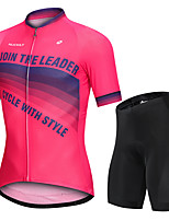 cheap -Nuckily Men's Short Sleeve Cycling Jersey with Shorts Fuchsia Gradient Bike Sports Gradient Road Bike Cycling Clothing Apparel
