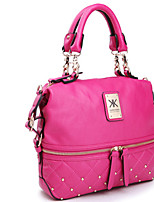 cheap -Women's Zipper PU Leather Top Handle Bag Leather Bags Solid Color Black / Fuchsia / Beige