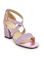 cheap -Women's Sandals Summer Chunky Heel Open Toe Daily PU Black / Purple / Gold