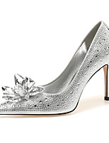 cheap -Women's Heels 2020 Spring &  Fall / Spring & Summer Stiletto Heel Pointed Toe Classic Minimalism Wedding Party & Evening Crystal / Sparkling Glitter / Sequin Suede Silver