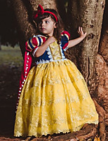 cheap -Princess Dress Outfits Flower Girl Dress Girls' Movie Cosplay A-Line Slip Yellow Dress Cloak Children's Day Masquerade Tulle Polyester