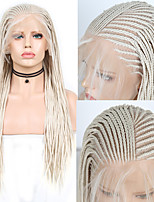 cheap -Synthetic Lace Front Wig Box Braids Plaited with Baby Hair Lace Front Wig Blonde Long Blonde Synthetic Hair 18 24 inch Women's Soft Party Women Blonde
