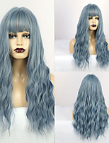 cheap -Synthetic Wig Matte Water Wave Middle Part Neat Bang Wig Long Lake Blue Synthetic Hair 24 inch Women's Lovely curling Fluffy Blue