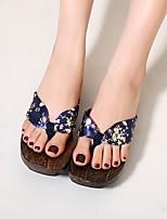 cheap -Women's Slippers & Flip-Flops Summer Flat Heel Open Toe Daily Canvas Black / Purple / Red