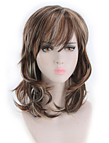 cheap -Synthetic Wig Curly Matte Bob Wig Long Light Brown Synthetic Hair 14 inch Women's Highlighted / Balayage Hair curling Fluffy Brown