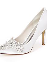 Недорогие -Жен. Свадебная обувь Весна / Лето На шпильке Заостренный носок Милая Свадьба Для вечеринки / ужина Стразы Однотонный Сатин Белый / Лиловый / Темно-лиловый: