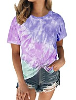 cheap -Women's Color Block Tie Dye T-shirt Daily Wine / Blue / Purple / Khaki / Green / Light Blue
