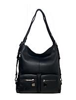 cheap -Unisex Zipper Cowhide Crossbody Bag Solid Color Black