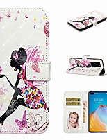 cheap -Case For Huawei P40 / Huawei P40 Pro / Huawei P40 Lite Wallet / Card Holder / with Stand Full Body Cases Butterfly Girl PU Leather / TPU for Huawei PSMART Z / Y5 2019 / Y6 2019