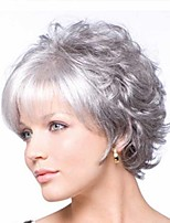 cheap -Synthetic Wig Curly Matte Short Bob Wig Short Grey Synthetic Hair 6 inch Women's Easy dressing curling Fluffy Gray