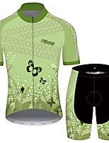 Недорогие -21Grams Муж. С короткими рукавами Велокофты и велошорты Зеленый Цветочные ботанический Велоспорт Устойчивость к УФ Быстровысыхающий Виды спорта С узором Горные велосипеды Шоссейные велосипеды Одежда