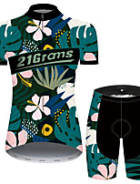 cheap -Women's Short Sleeve Cycling Jersey with Shorts Black / Blue Floral Botanical Bike Breathable Quick Dry Sports Patterned Mountain Bike MTB Road Bike Cycling Clothing Apparel / Micro-elastic