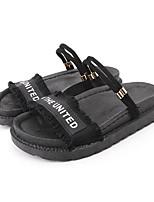 cheap -Women's Sandals Flat Sandal Summer Flat Heel Open Toe Casual Daily Outdoor Slogan Canvas White / Black