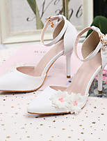 cheap -Women's Wedding Shoes Fall & Winter Stiletto Heel Pointed Toe Wedding Party & Evening Pearl / Satin Flower / Tassel PU White
