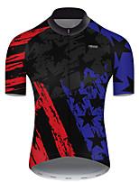 Недорогие -21Grams Муж. С короткими рукавами Велокофты Полиэстер Красный + синий Американский / США Флаги Велоспорт Джерси Верхняя часть Горные велосипеды Шоссейные велосипеды / Слабоэластичная / Дышащий