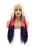 cheap -Synthetic Lace Front Wig Straight Beyonce Middle Part Lace Front Wig Ombre Long Ombre Color Synthetic Hair 22-26 inch Women's Heat Resistant Women Hot Sale Red Ombre / Glueless