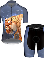 cheap -21Grams Men's Short Sleeve Cycling Jersey with Shorts Polyester Black / Yellow Galaxy Animal Tiger Bike Clothing Suit Breathable Quick Dry Ultraviolet Resistant Reflective Strips Sweat-wicking Sports
