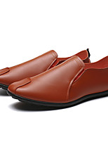cheap -Men's Spring & Summer / Fall & Winter Casual Daily Outdoor Loafers & Slip-Ons Walking Shoes Faux Leather / PU Breathable Waterproof Non-slipping Dark Brown / White / Black Slogan