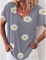 cheap -Women's Floral Solid Colored Daisy Patchwork Print T-shirt Basic Street chic Daily Going out V Neck Blue / Yellow / Khaki / Gray