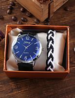 cheap -Men's Sport Watch Quartz PU Leather Black Chronograph New Design Casual Watch Analog Casual Fashion - Black