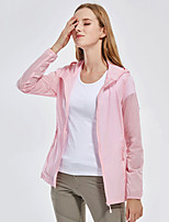 cheap -Women's Hiking Skin Jacket Hiking Jacket Hiking Windbreaker Summer Outdoor Windproof Sunscreen Breathable Quick Dry Jacket Top Elastane Single Slider Running Hunting Fishing White / Pink / Rose Red