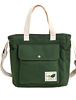 cheap -Women's Zipper Canvas Top Handle Bag Canvas Bag Solid Color White / Black / Yellow