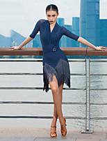Недорогие -Латино Платье С кисточками Рюши / сборки Жен. Выступление Рукав до локтя Ice Silk (искусственное волокно)