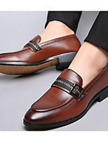 cheap -Men's Spring & Summer British Daily Loafers & Slip-Ons Leather Black / Brown