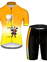 cheap -21Grams Men's Short Sleeve Cycling Jersey with Shorts Polyester Orange / Black Gradient Oktoberfest Beer Poker Bike Clothing Suit Breathable Quick Dry Ultraviolet Resistant Reflective Strips