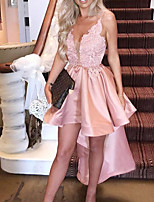 cheap -A-Line Sexy Pink Engagement Cocktail Party Dress V Neck Sleeveless Asymmetrical Satin with Ruffles 2020