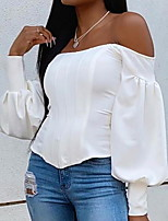 cheap -Women's Solid Colored Blouse Daily Off Shoulder White