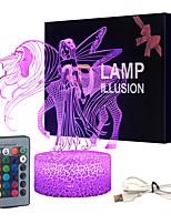 Недорогие -ночник 16 смены цветов 3d оптические иллюзионные прикроватные лампы с дистанционным управлением лучшая идея подарка для детской комнаты dcor или подарки на день рождения для девушек женщин (единорог