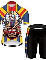 Недорогие -21Grams Муж. С короткими рукавами Велокофты и велошорты Полиэстер Черный / желтый Смешной Пиво Октоберфест Велоспорт Наборы одежды Дышащий 3D / Эластичная / Горные велосипеды / Шоссейные велосипеды