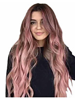 cheap -Synthetic Wig Matte Body Wave Middle Part Wig Very Long Pink / Purple Synthetic Hair 26 inch Women's Fashionable Design Sexy Lady Color Gradient Purple