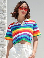 cheap -Rainbow Stripe Half Placket Crop Tee