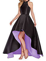 cheap -A-Line Color Block Minimalist Party Wear Prom Dress Halter Neck Sleeveless Asymmetrical Satin with Sleek 2020