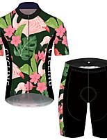 Недорогие -21Grams Муж. С короткими рукавами Велокофты и велошорты Розовый + зеленый Фламинго Цветочные ботанический Велоспорт Устойчивость к УФ Быстровысыхающий Виды спорта Фламинго / Эластичная