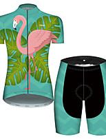 Недорогие -21Grams Жен. С короткими рукавами Велокофты и велошорты Розовый + зеленый Фламинго Цветочные ботанический Велоспорт Дышащий Быстровысыхающий Виды спорта Фламинго Горные велосипеды Шоссейные велосипеды